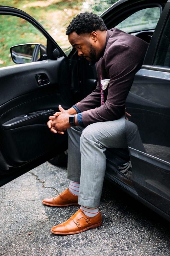 Man sat in car depressed